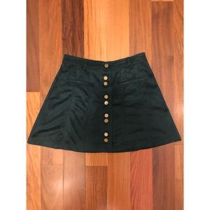 Teal faux suede mini skirt